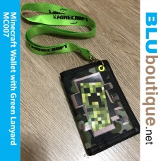 Minecraft Creeper Wallet with green Lanyard