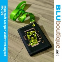 Minecraft Creeper Wallet with Neon Green Lanyard