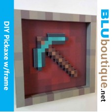 Minecraft Pickaxe in frame DIY Papercraft