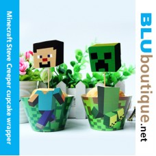 Minecraft Creeper Steve Cupcake Topper with Wrapper